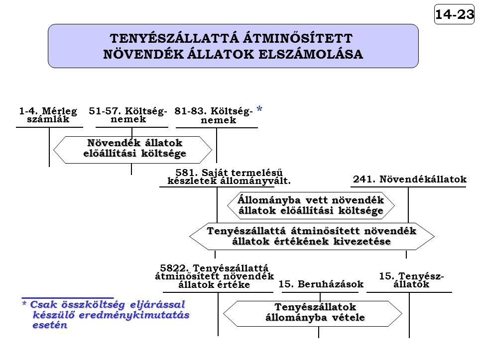 14-23 TENYÉSZÁLLATTÁ ÁTMINŐSÍTETT NÖVENDÉK ÁLLATOK ELSZÁMOLÁSA 581.