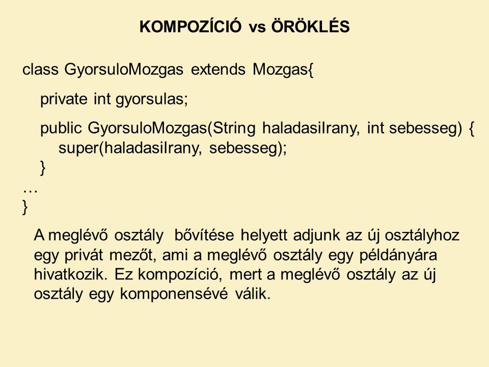 class GyorsuloMozgas extends Mozgas{ private int gyorsulas; public GyorsuloMozgas(String haladasiIrany, int sebesseg) { super(haladasiIrany, sebesseg)