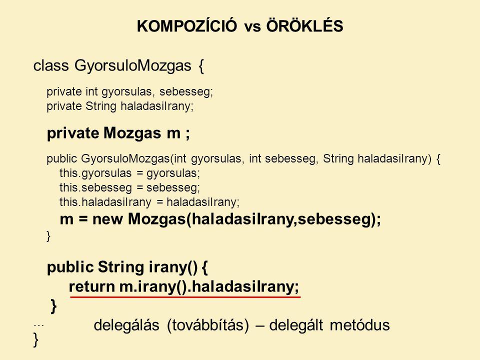 class GyorsuloMozgas { private int gyorsulas, sebesseg; private String haladasiIrany; private Mozgas m ; public GyorsuloMozgas(int gyorsulas, int sebe