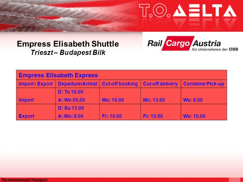 Empress Elisabeth Shuttle Trieszt – Budapest Bilk Empress Elisabeth Express Import / ExportDeparture/ArrivalCut-off bookingCut-off deliveryContainer Pick-up D: Tu 10.00 ImportA: We 05.00Mo: 10.00Mo: 13.00We: 8.00 D: Su 13.00 ExportA: Mo: 8.00Fr: 10.00Fr: 15.00We: 10.00