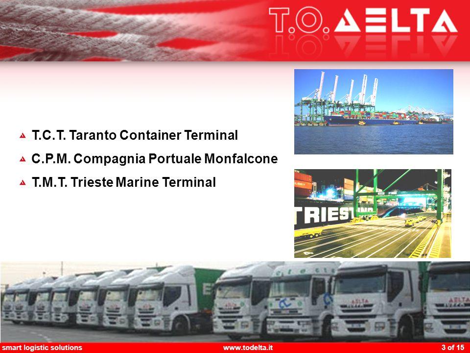 smart logistic solutionswww.todelta.it 4 of 15 Tengerentúli kapcsolatok Közvetlen heti járatok a Távol-Keletre és vissza Kiterjedt kapcsolatok a Földközi–tenger országaival Gyors összeköttetés a nagyobb földközi-tengeri HUB kikötőkkel Vámkezelési lehetőségek Trieszt, mint szabad kikötő Vámkezelési lehetőségek (vámköltségek késedelmes befizetése) Rugalmasság Lehetőség a járatsűrűség gyakorítására (rakomány volumentől függően) Teljes körű és személyre szabott szolgáltatások (TCC, custom clearance, door delivery,)
