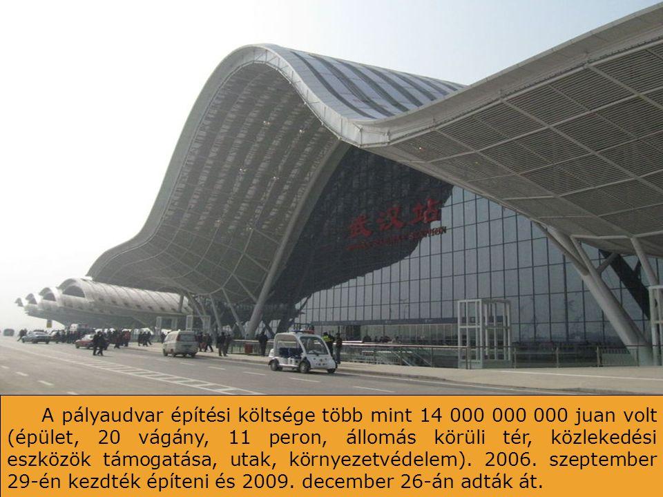 Központi épület teteje. 9 eresz jelképezi Wuhan nagyon fontos elhelyezését, kilenc kínai provincia keresztezésén. A tetőt napkolektorokkal burkolták,