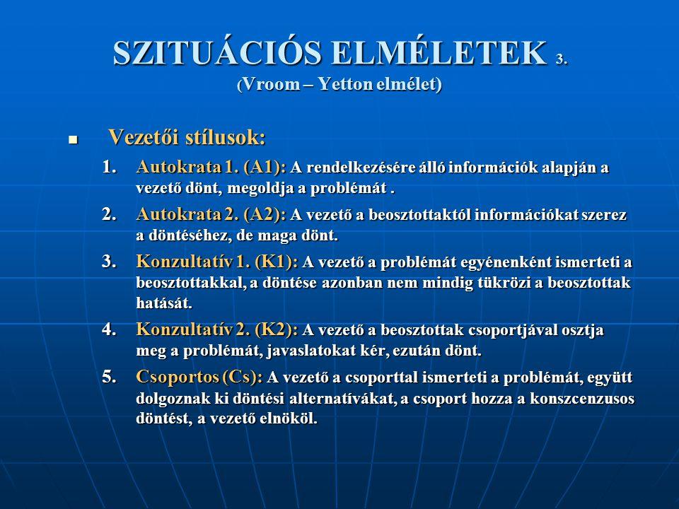 SZITUÁCIÓS ELMÉLETEK 3. ( Vroom – Yetton elmélet) Vezetői stílusok: Vezetői stílusok: 1.Autokrata 1. (A1): A rendelkezésére álló információk alapján a