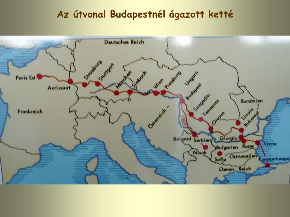 Az útvonal Budapestnél ágazott ketté