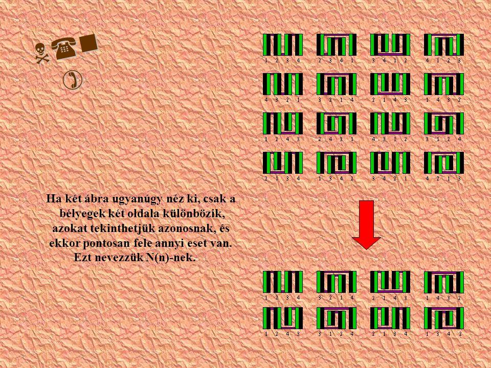 N(n ) Ha két ábra ugyanúgy néz ki, csak a bélyegek két oldala különbözik, azokat tekinthetjük azonosnak, és ekkor pontosan fele annyi eset van.