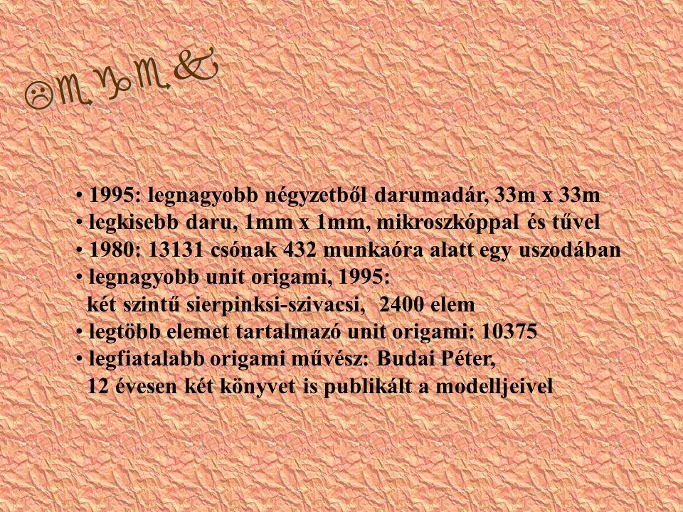 Legek 1995: legnagyobb négyzetből darumadár, 33m x 33m legkisebb daru, 1mm x 1mm, mikroszkóppal és tűvel 1980: 13131 csónak 432 munkaóra alatt egy uszodában legnagyobb unit origami, 1995: két szintű sierpinksi-szivacsi, 2400 elem legtöbb elemet tartalmazó unit origami: 10375 legfiatalabb origami művész: Budai Péter, 12 évesen két könyvet is publikált a modelljeivel