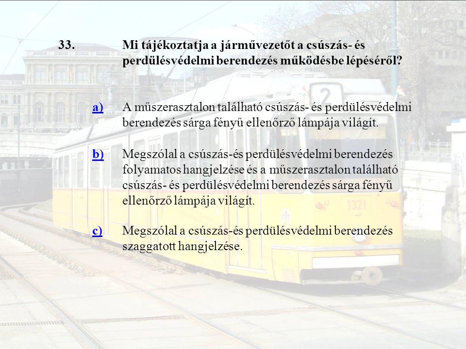 33.Mi tájékoztatja a járművezetőt a csúszás- és perdülésvédelmi berendezés működésbe lépéséről? a)A műszerasztalon található csúszás- és perdülésvédel