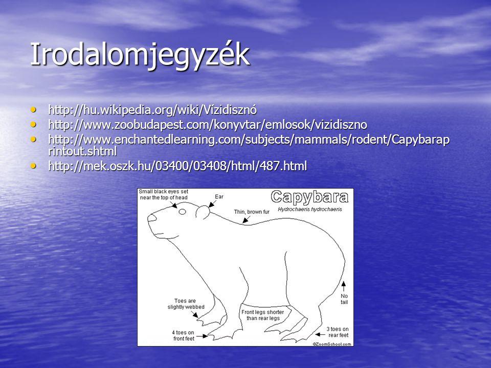 Irodalomjegyzék http://hu.wikipedia.org/wiki/Vízidisznó http://hu.wikipedia.org/wiki/Vízidisznó http://www.zoobudapest.com/konyvtar/emlosok/vizidiszno