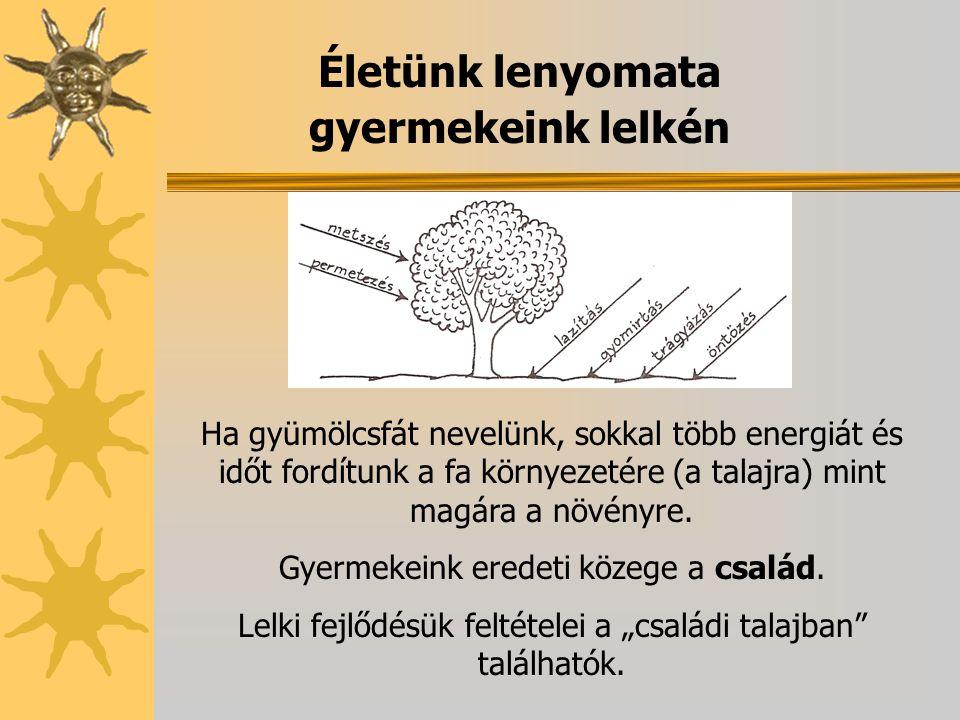 Életünk lenyomata gyermekeink lelkén Ha gyümölcsfát nevelünk, sokkal több energiát és időt fordítunk a fa környezetére (a talajra) mint magára a növén