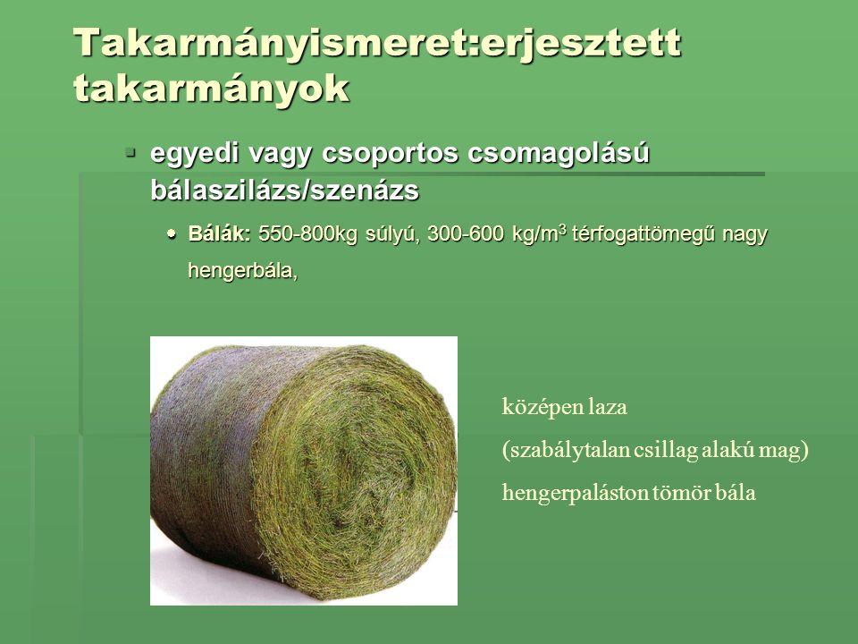 Takarmányismeret:erjesztett takarmányok  egyedi vagy csoportos csomagolású bálaszilázs/szenázs  Bálák: 550-800kg súlyú, 300-600 kg/m 3 térfogattömeg