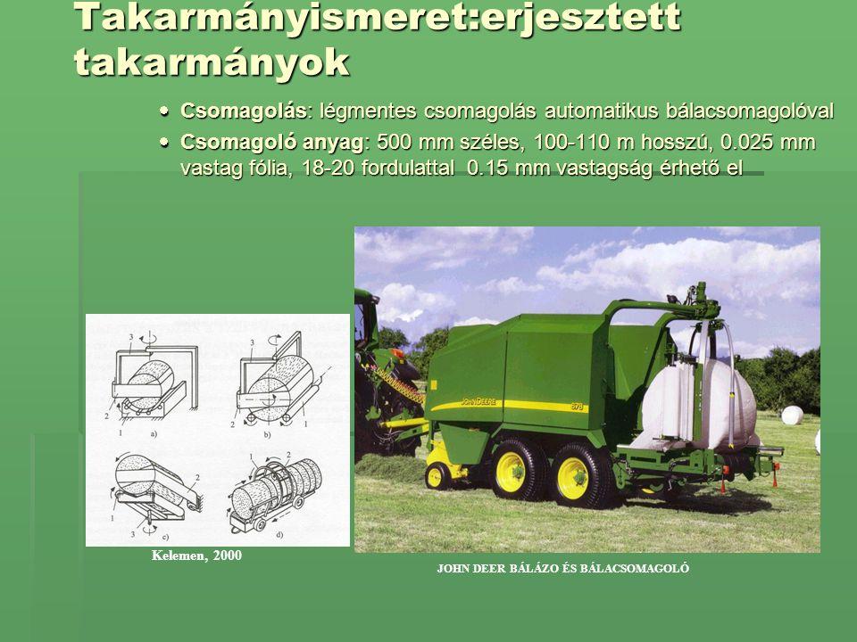 Takarmányismeret:erjesztett takarmányok  Csomagolás: légmentes csomagolás automatikus bálacsomagolóval  Csomagoló anyag: 500 mm széles, 100-110 m ho