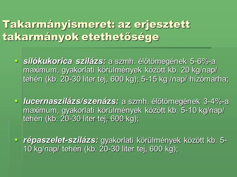 Takarmányismeret: az erjesztett takarmányok etethetősége  silókukorica szilázs: a szmh. élőtömegének 5-6%-a maximum, gyakorlati körülmények között kb