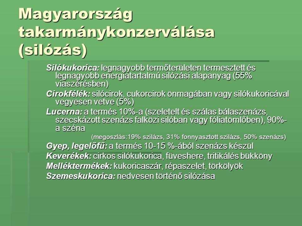 SilókukoricaElőnye:  minden körzetben termeszthető  termesztése, silózása gépesített  egységnyi területről a legtöbb energiát biztosítja (60-80 GJ/ha)  téli karotinforrás Hátránya:  betakarítási munkacsúcs több érési csoportba tartozó hibrid termesztése Fenofázis: 35-40 % nedvességtartalmú növény, viaszérésben (aug 15 - szept.