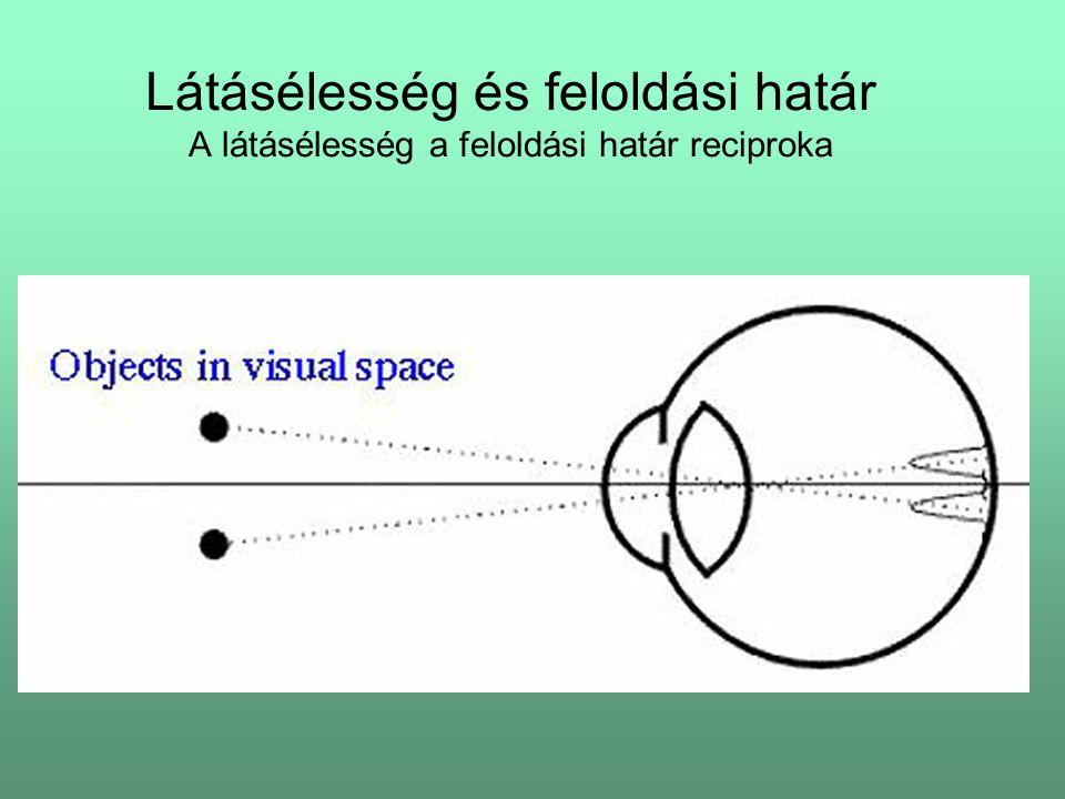 Látásélesség és feloldási határ A látásélesség a feloldási határ reciproka