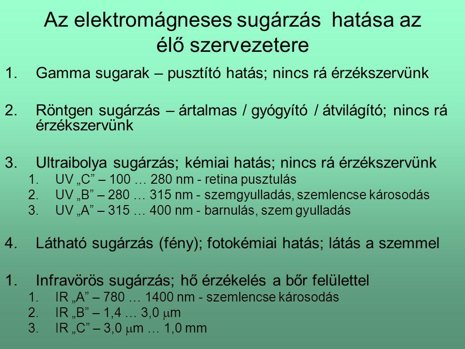 Az elektromágneses sugárzás hatása az élő szervezetere 1.Gamma sugarak – pusztító hatás; nincs rá érzékszervünk 2.Röntgen sugárzás – ártalmas / gyógyí