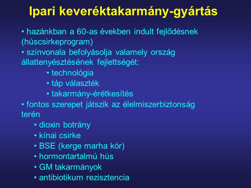 Hidrotermikus eljárások granulálás az előzőekben gőzzel kondicionált tápból egy matrica furatain keresztül kis rudacskákat préselnek fizikai változás (nő a fajsúly) kémiai változás (a keményítő zselatinizálódik) a hőkezelés hatására az aminosavak és vitaminok is károsodhatnak emiatt azonnal hűteni kell a granulátumot bizonyos antinutritív anyagok, kórokozók inaktiválása miatt pozitív a hatása