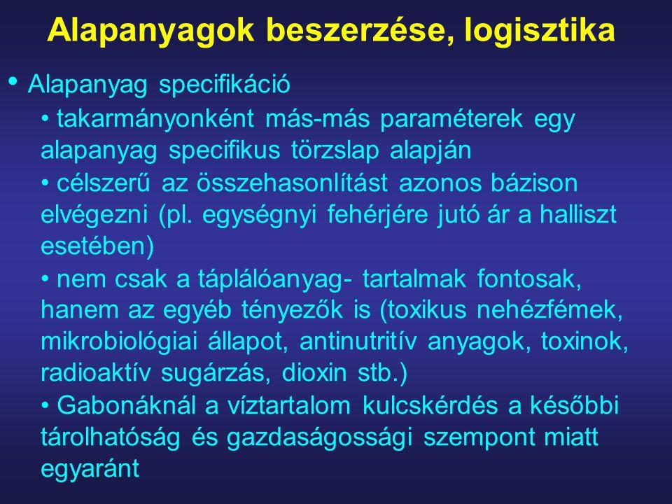 Alapanyagok beszerzése, logisztika Alapanyag specifikáció takarmányonként más-más paraméterek egy alapanyag specifikus törzslap alapján célszerű az összehasonlítást azonos bázison elvégezni (pl.