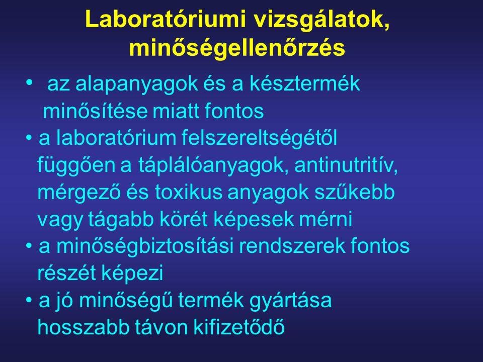 Laboratóriumi vizsgálatok, minőségellenőrzés az alapanyagok és a késztermék minősítése miatt fontos a laboratórium felszereltségétől függően a tápláló