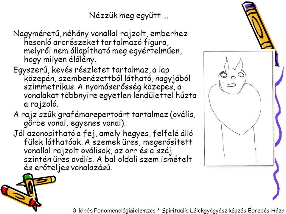 3. lépés F enomenológiai elemzés * Spirituális Lélekgyógyász képzés Ébredés Háza Nézzük meg együtt … Nagyméretű, néhány vonallal rajzolt, emberhez has