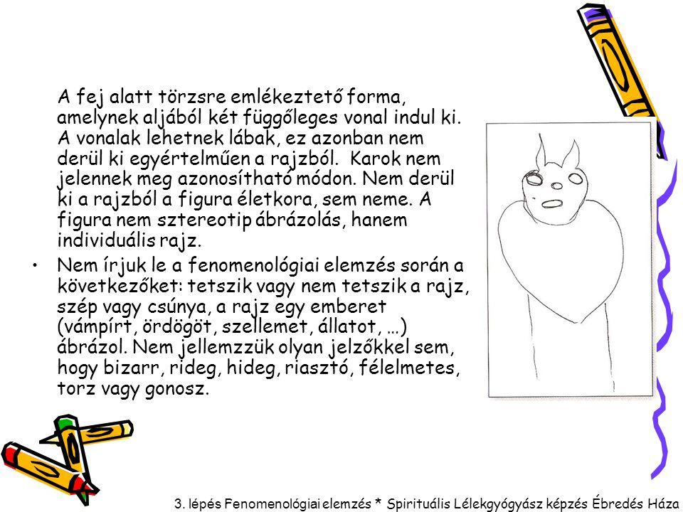 3. lépés F enomenológiai elemzés * Spirituális Lélekgyógyász képzés Ébredés Háza A fej alatt törzsre emlékeztető forma, amelynek aljából két függőlege