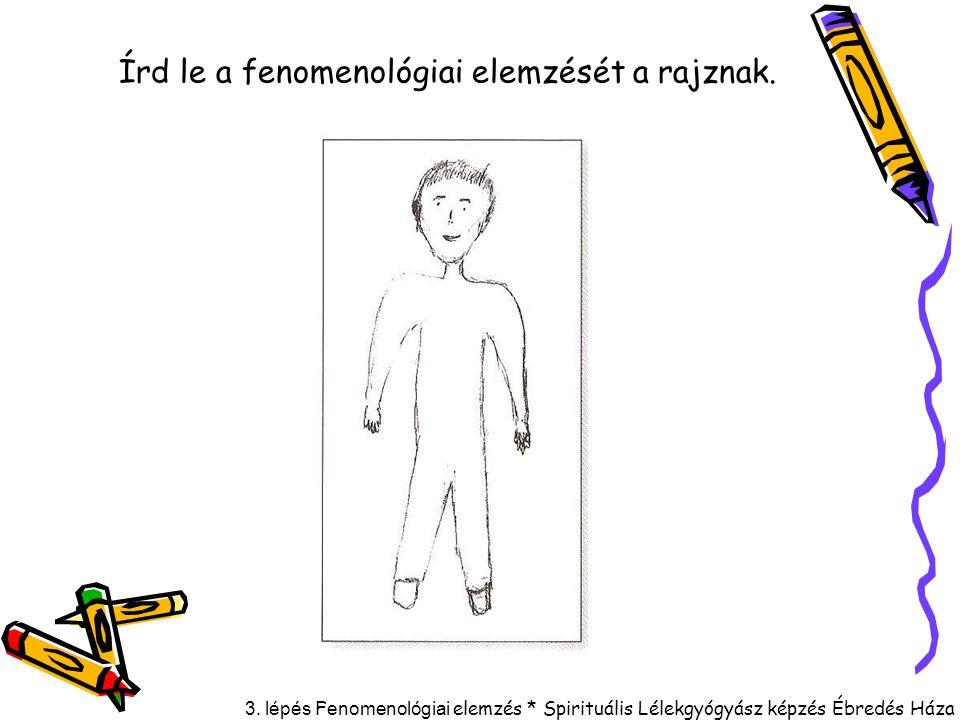 3. lépés F enomenológiai elemzés * Spirituális Lélekgyógyász képzés Ébredés Háza Írd le a fenomenológiai elemzését a rajznak.