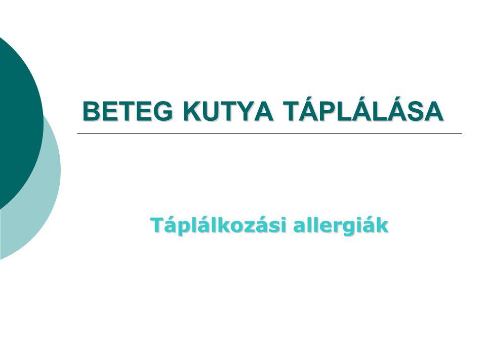 BETEG KUTYA TÁPLÁLÁSA Táplálkozási allergiák