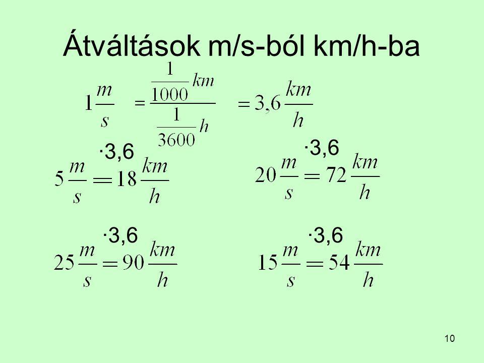 10 Átváltások m/s-ból km/h-ba ∙3,6