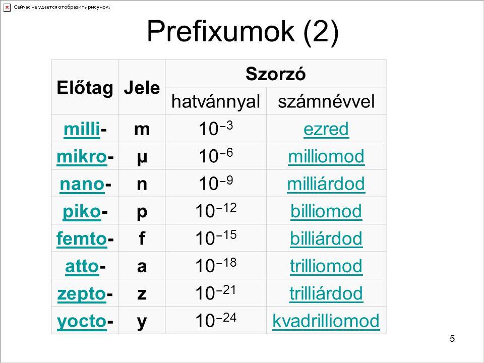 5 Prefixumok (2) ElőtagJele Szorzó hatvánnyalszámnévvel millimilli-m10 ‒ 3 ezred mikromikro-µ10 ‒ 6 milliomod nanonano-n10 ‒ 9 milliárdod pikopiko-p10