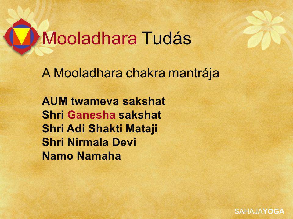 SAHAJAYOGA Mooladhara Tudás A Mooladhara chakra mantrája AUM twameva sakshat Shri Ganesha sakshat Shri Adi Shakti Mataji Shri Nirmala Devi Namo Namaha