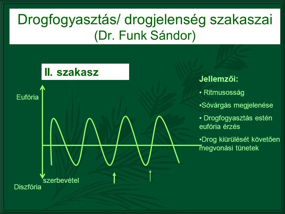 Drogfogyasztás/ drogjelenség szakaszai (Dr. Funk Sándor) II. szakasz Diszfória Eufória szerbevétel Jellemzői: Ritmusosság Sóvárgás megjelenése Drogfog
