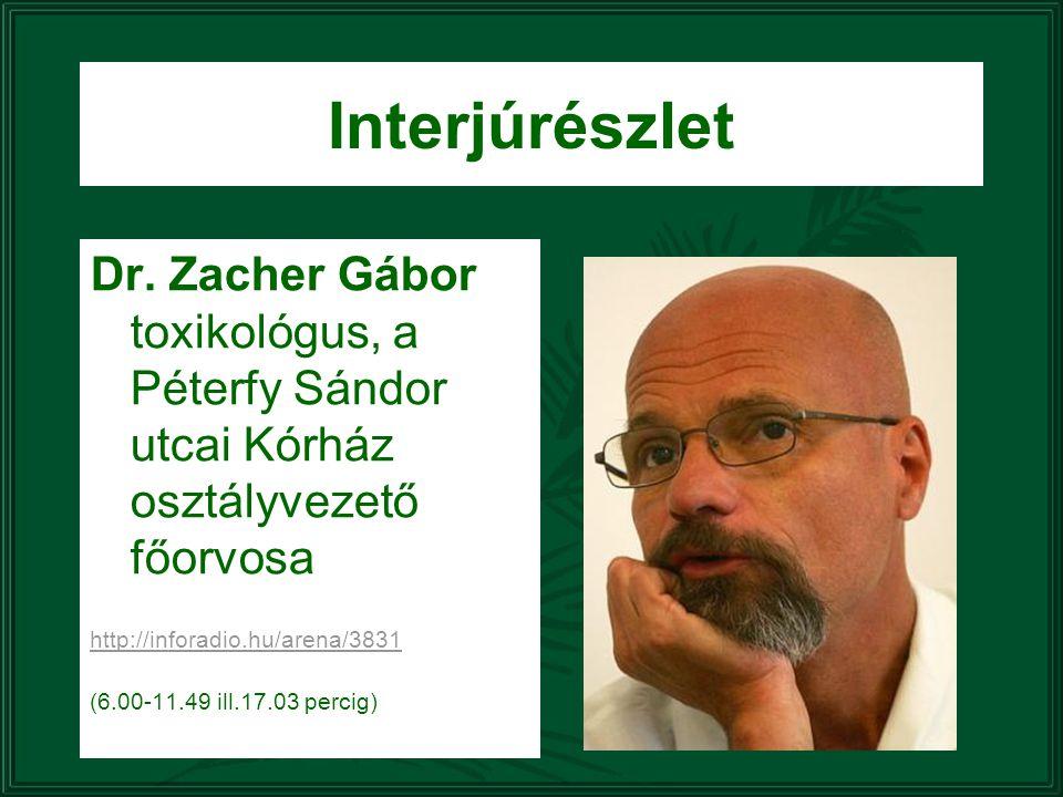 Dr. Zacher Gábor toxikológus, a Péterfy Sándor utcai Kórház osztályvezető főorvosa http://inforadio.hu/arena/3831 (6.00-11.49 ill.17.03 percig) Interj