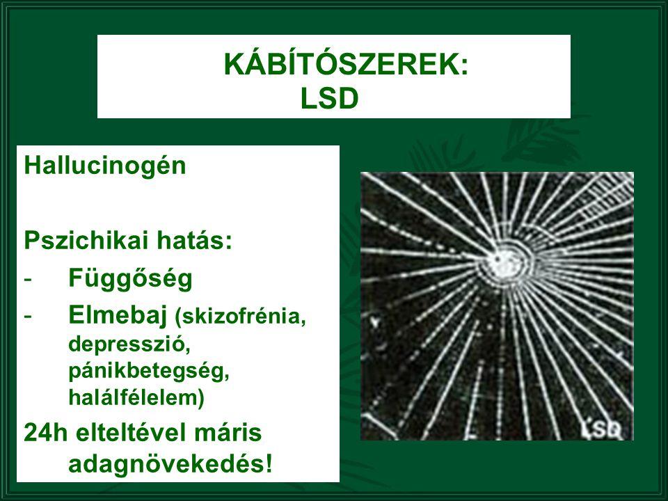 KÁBÍTÓSZEREK: LSD Hallucinogén Pszichikai hatás: -Függőség -Elmebaj (skizofrénia, depresszió, pánikbetegség, halálfélelem) 24h elteltével máris adagnö