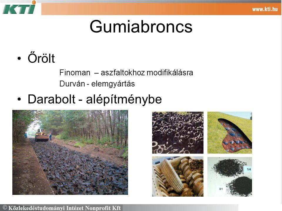 Gumiabroncs Őrölt Finoman – aszfaltokhoz modifikálásra Durván - elemgyártás Darabolt - alépítménybe