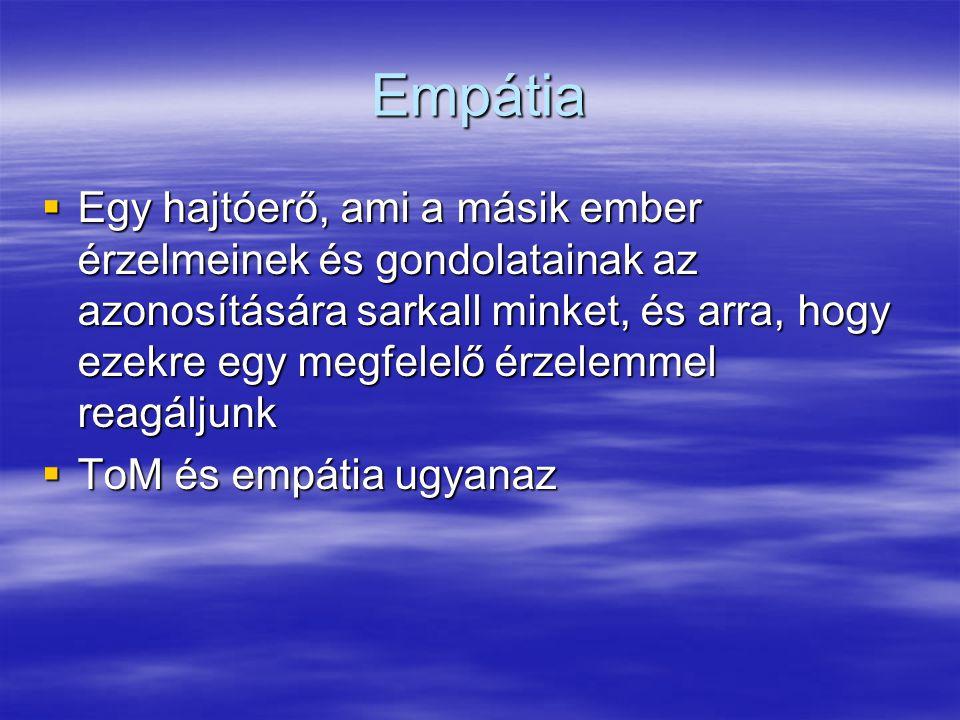 Empátia  Egy hajtóerő, ami a másik ember érzelmeinek és gondolatainak az azonosítására sarkall minket, és arra, hogy ezekre egy megfelelő érzelemmel reagáljunk  ToM és empátia ugyanaz