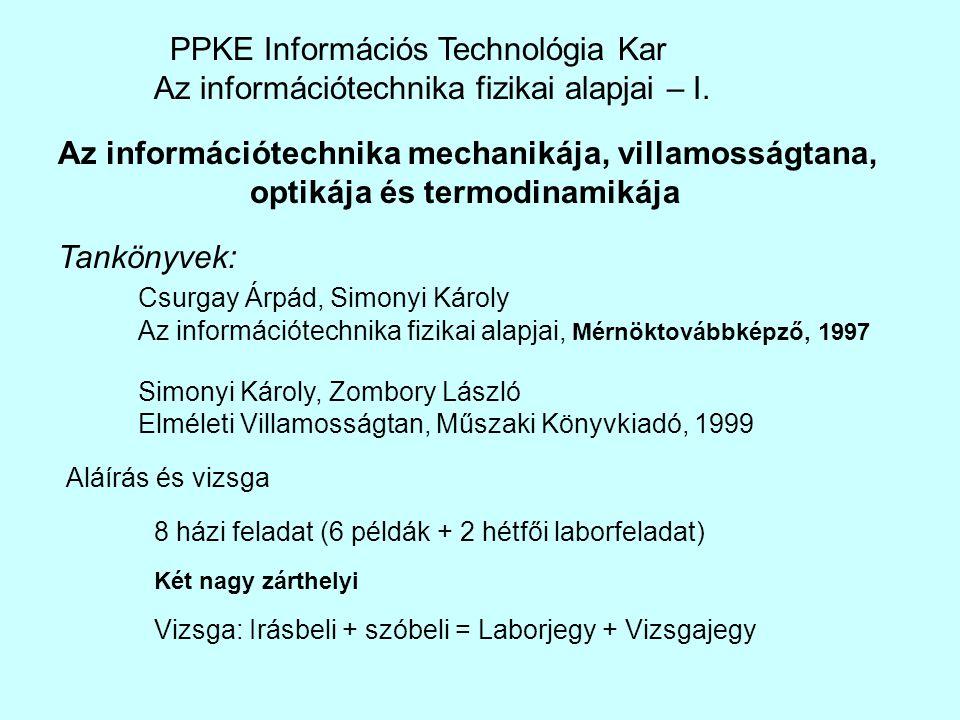 PPKE Információs Technológia Kar Az információtechnika fizikai alapjai – I. Tankönyvek: Csurgay Árpád, Simonyi Károly Az információtechnika fizikai al