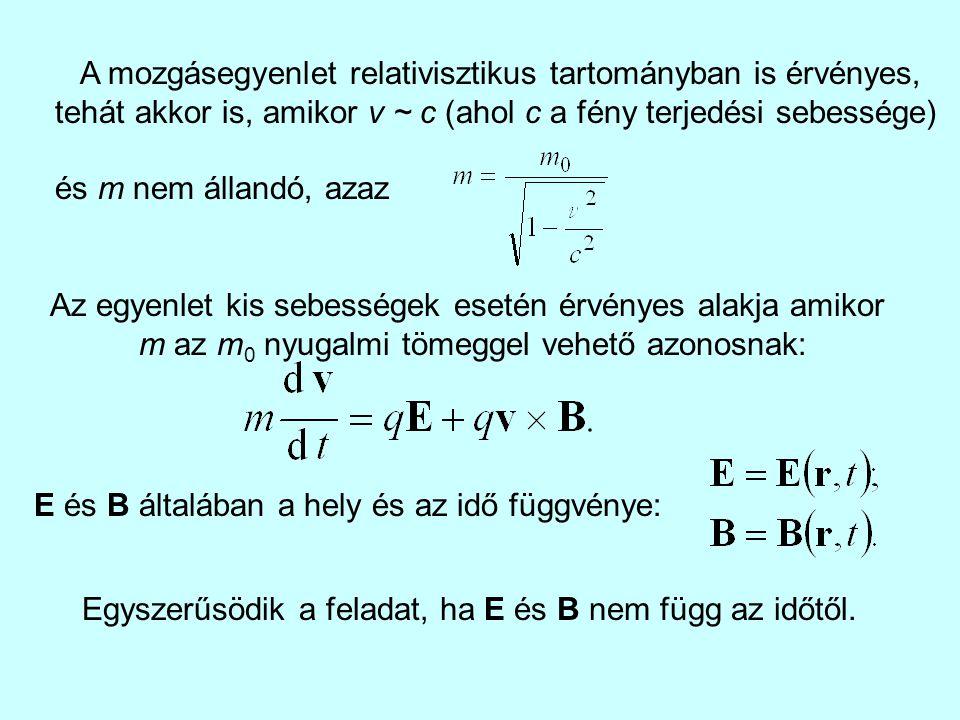 A mozgásegyenlet relativisztikus tartományban is érvényes, tehát akkor is, amikor v ~ c (ahol c a fény terjedési sebessége) és m nem állandó, azaz Az