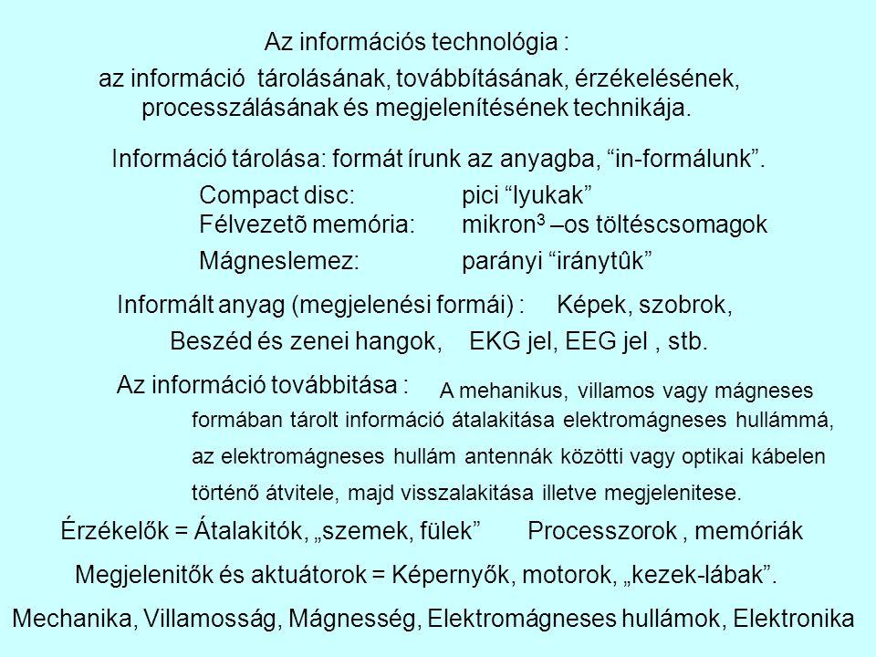 """Információ tárolása: formát írunk az anyagba, """"in-formálunk"""". Compact disc:pici """"lyukak"""" Félvezetõ memória:mikron 3 –os töltéscsomagok Mágneslemez:par"""