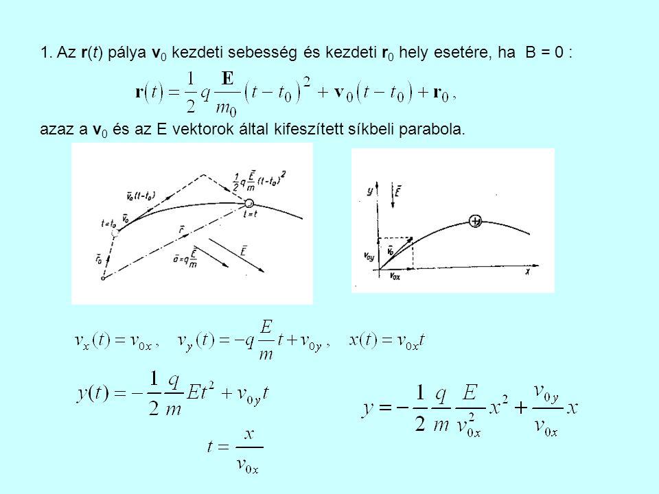 1. Az r(t) pálya v 0 kezdeti sebesség és kezdeti r 0 hely esetére, ha B = 0 : azaz a v 0 és az E vektorok által kifeszített síkbeli parabola.