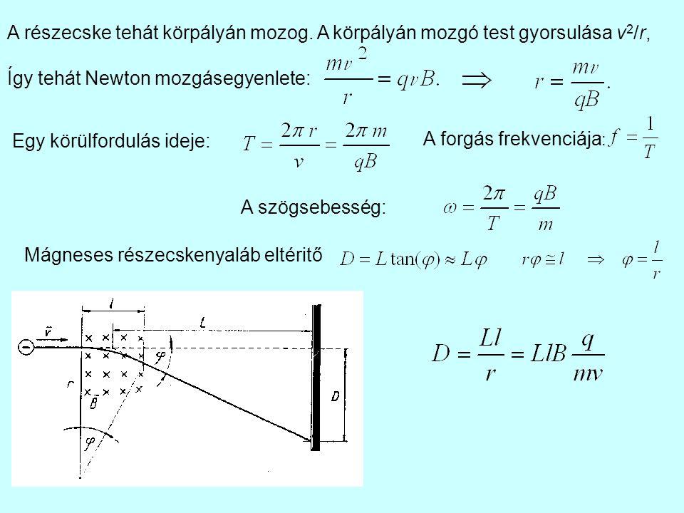 A részecske tehát körpályán mozog. A körpályán mozgó test gyorsulása v 2 /r, Így tehát Newton mozgásegyenlete: Egy körülfordulás ideje: A forgás frekv