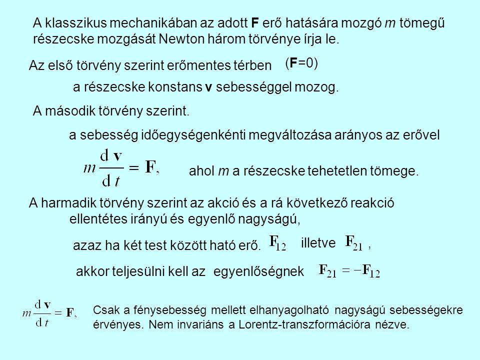 A klasszikus mechanikában az adott F erő hatására mozgó m tömegű részecske mozgását Newton három törvénye írja le. Az első törvény szerint erőmentes t