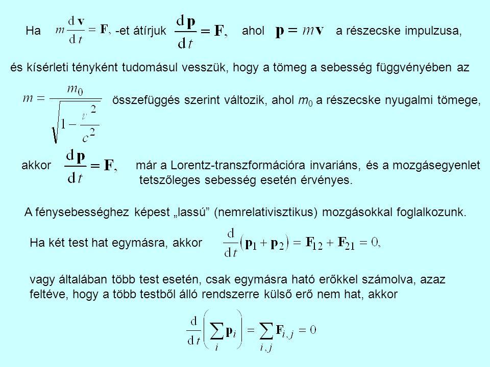 Ha -et átírjuk ahola részecske impulzusa, és kísérleti tényként tudomásul vesszük, hogy a tömeg a sebesség függvényében az összefüggés szerint változi