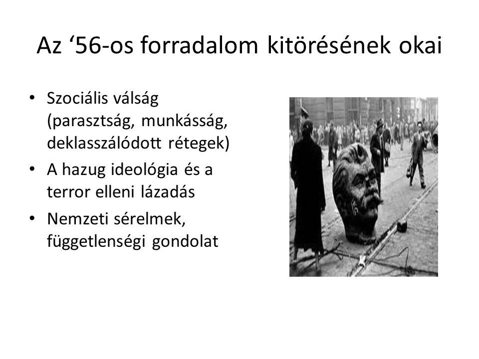 Az '56-os forradalom kitörésének okai Szociális válság (parasztság, munkásság, deklasszálódott rétegek) A hazug ideológia és a terror elleni lázadás N