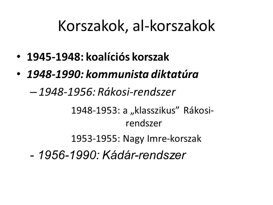 """Korszakok, al-korszakok 1945-1948: koalíciós korszak 1948-1990: kommunista diktatúra – 1948-1956: Rákosi-rendszer 1948-1953: a """"klasszikus"""" Rákosi- re"""