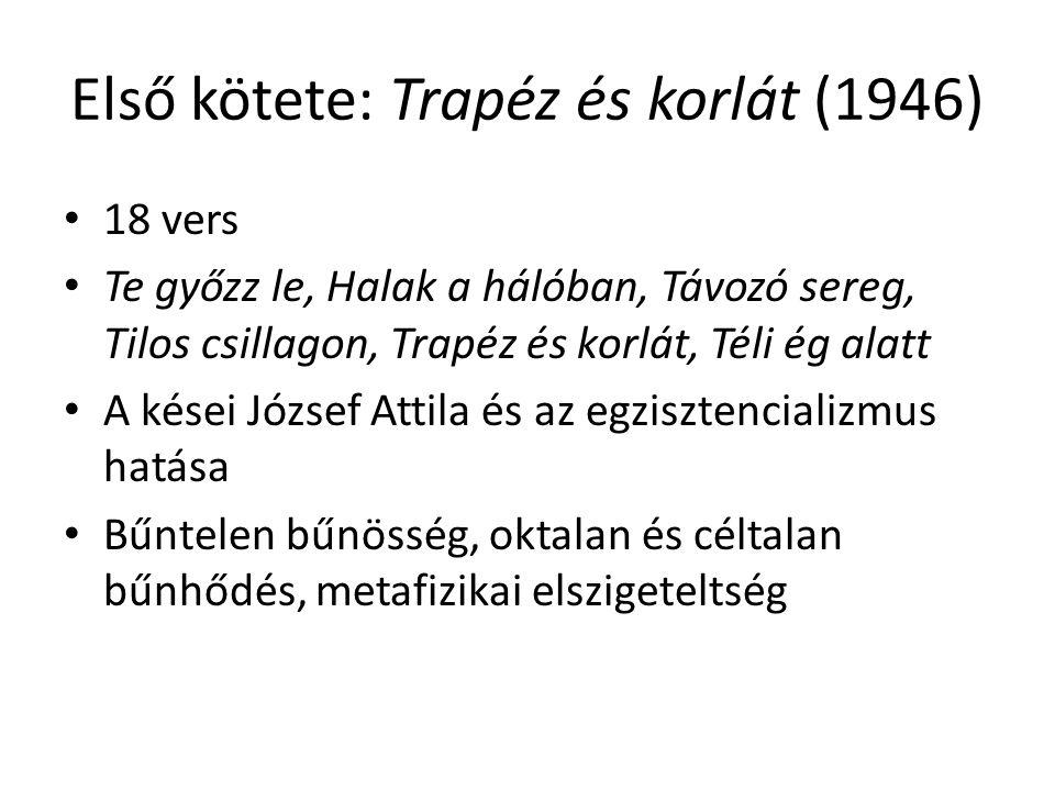 Első kötete: Trapéz és korlát (1946) 18 vers Te győzz le, Halak a hálóban, Távozó sereg, Tilos csillagon, Trapéz és korlát, Téli ég alatt A kései Józs