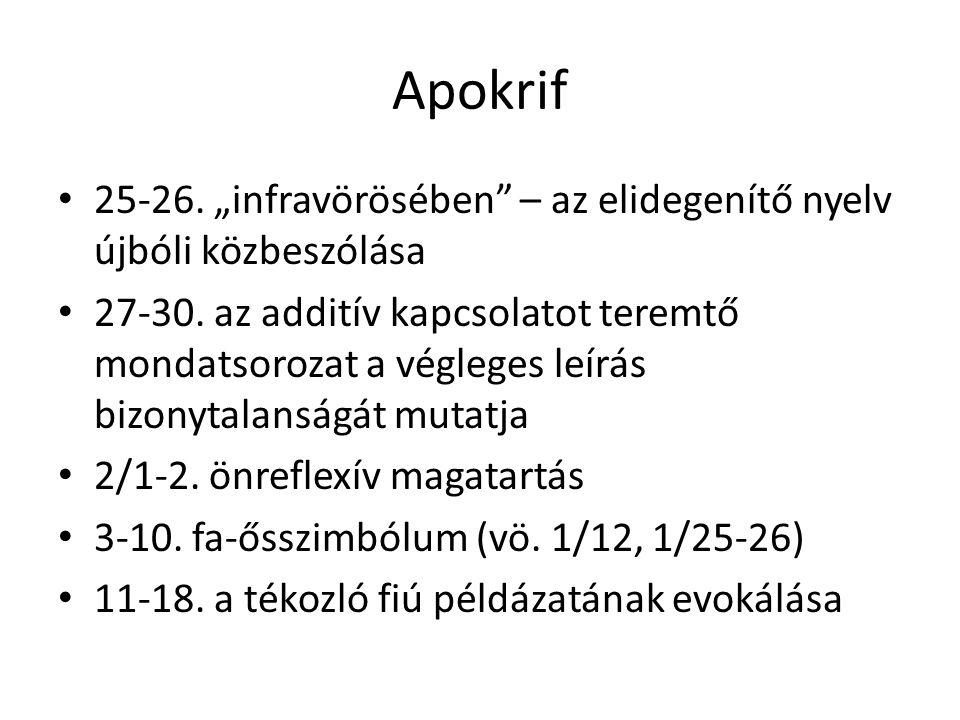 """Apokrif 25-26. """"infravörösében"""" – az elidegenítő nyelv újbóli közbeszólása 27-30. az additív kapcsolatot teremtő mondatsorozat a végleges leírás bizon"""