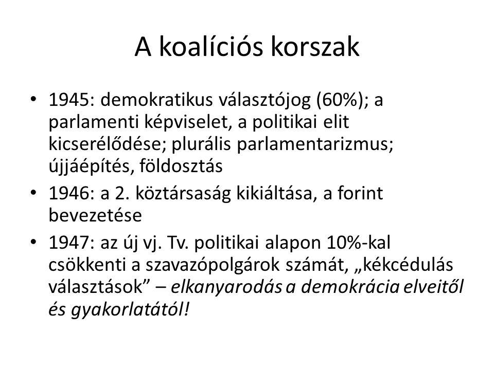 A koalíciós korszak 1945: demokratikus választójog (60%); a parlamenti képviselet, a politikai elit kicserélődése; plurális parlamentarizmus; újjáépít