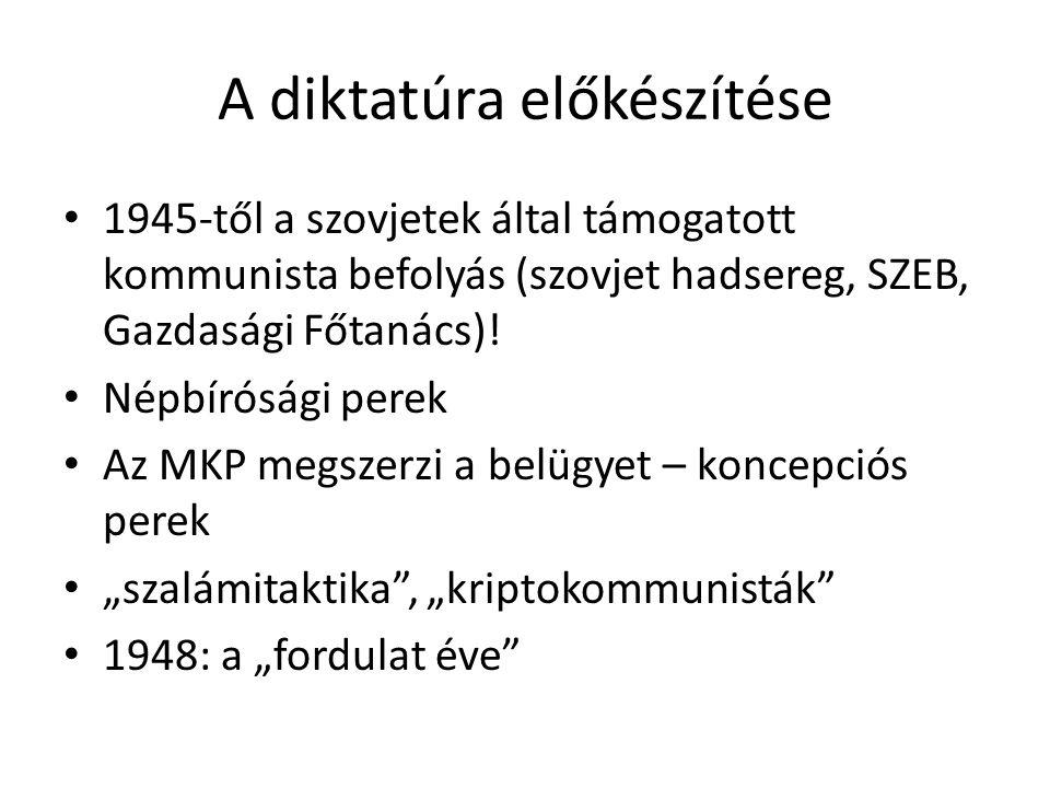 """A sztálinista diktatúra bevezetése 1948- a magántulajdon megszüntetése (államosítás), tervgazdálkodás A többpártrendszer és a parlamentarizmus felszámolása, a hatalmi ágak összeolvasztása Az államigazgatás és az igazságszolgáltatás pártállami irányítása (kommunista nomenklatúra) A hatalom centralizálása (KV, PB, a """"trojka ) Egyetlen hivatalos ideológia kikényszerítése Terror (ÁVO, ÁVH) - a totalitáriánus rendszer kiépítése"""