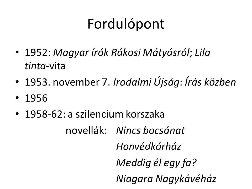 Fordulópont 1952: Magyar írók Rákosi Mátyásról; Lila tinta-vita 1953. november 7. Irodalmi Újság: Írás közben 1956 1958-62: a szilencium korszaka nove