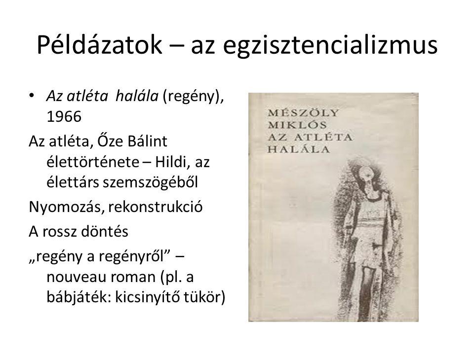 Példázatok – az egzisztencializmus Az atléta halála (regény), 1966 Az atléta, Őze Bálint élettörténete – Hildi, az élettárs szemszögéből Nyomozás, rek
