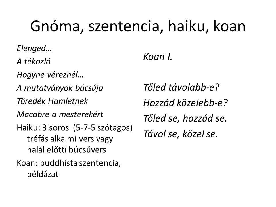 Gnóma, szentencia, haiku, koan Elenged… A tékozló Hogyne véreznél… A mutatványok búcsúja Töredék Hamletnek Macabre a mesterekért Haiku: 3 soros (5-7-5